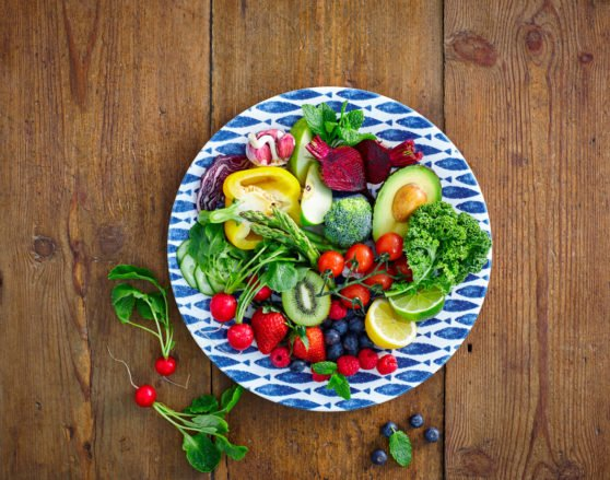 Fresh fruits and vegetables salad