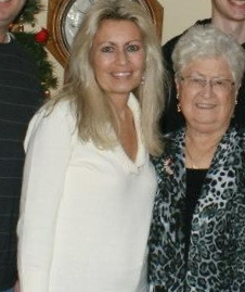 A photo of me with my grandmother at Christmas.