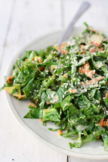 How to Prep Collard Greens for a Deliciously Creamy and Tangy Salad