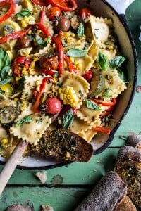 Garden-Veggie-and-Ravioli-Skillet-with-Pistachio-Herb-Butter-1