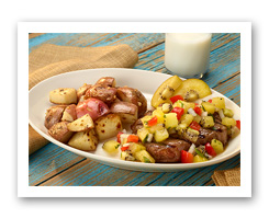 Grilled Red Potatoes and Steak with Kiwifruit Molho a Campanha. Veggies More Matters.org