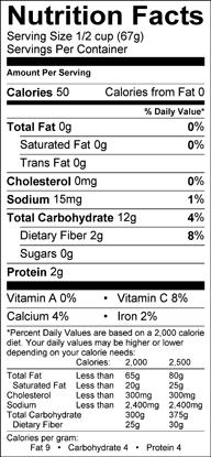 Nutrition label for Black Salsify