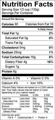Nutrition label for Black Eyed Peas