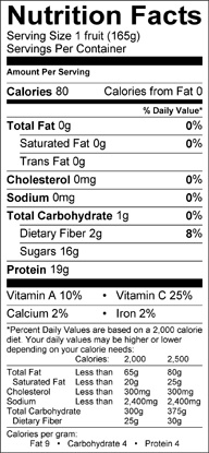 Nutrition label for Black Nectar Plumcots