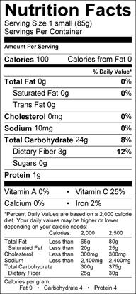 Nutrition label for Boniato