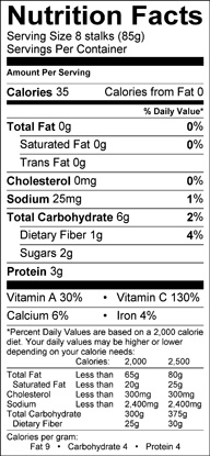 Nutrition label for Broccolini