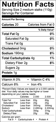 Nutrition label for Cardoon