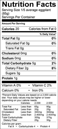 Nutrition label for Chinese Eggplants