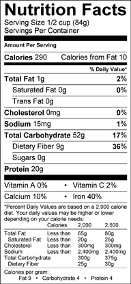 Nutrition label for Chinese Long Beans