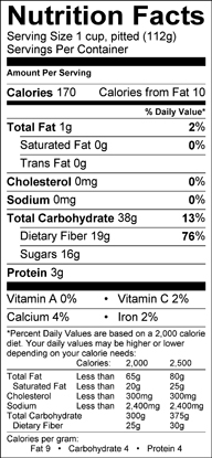 Nutrition label for Chokecherries