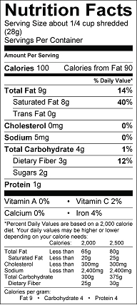 Nutrition label for Coconut