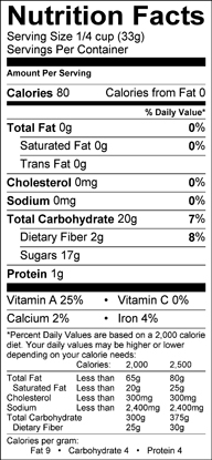 Nutrition label for Dried Apricots