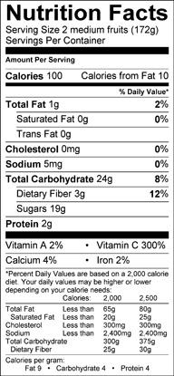 Nutrition label for Golden Kiwifruit
