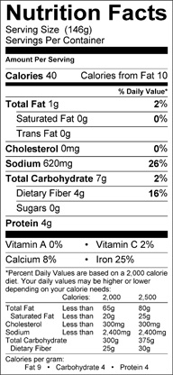 Nutrition label for Hearts of Palm