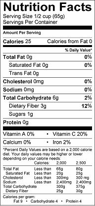 Nutrition label for Jicama