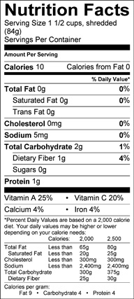 Nutrition label for Manoa Lettuce