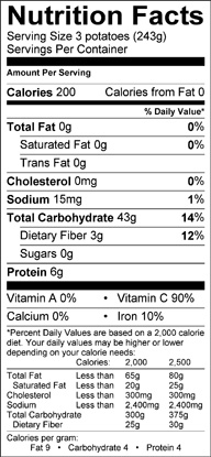 Nutrition label for Purple Potatoes