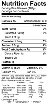 Nutrition label for Red Leaf Lettuce