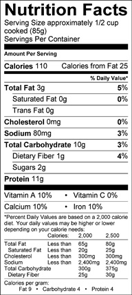 Nutrition label for Green Soybeans (Edamame)