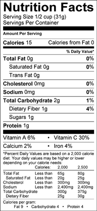 Nutrition label for Sugar Snap Peas
