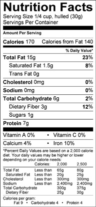Nutrition label for Sunflower Kernels
