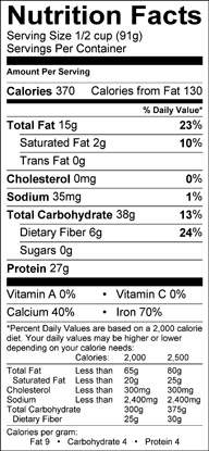 Nutrition label for Winged Bean
