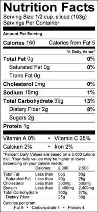 Nutrition label for Yucca Root