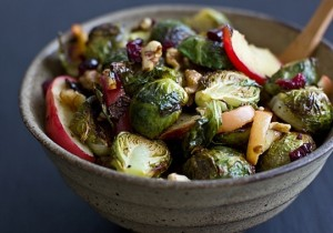Roasted brussels sprouts and apples