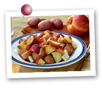 Click to view larger image of One-Dish Roasted Potatoes and Apples with Chicken Sausage : Fill Half Your Plate with Fruits & Veggies : Fruits And Veggies More Matters.org
