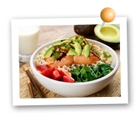 Click to view larger image of Salmon, Avocado and Strawberry Rice Bowl : Fill Half Your Plate with Fruits & Veggies : Fruits And Veggies More Matters.org