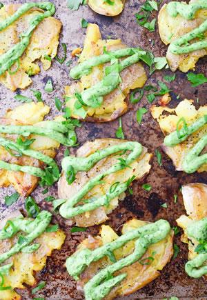 Smashed Potatoes with Avocado Chimichurri Sauce