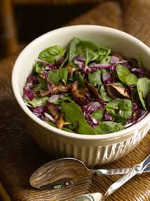 CIA Recipes: Spinach Salad with Marinated Shiitakes and Red Onions