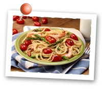 Click to view larger image of Roasted Grape Tomatoes, Asparagus and Shrimp over Pasta: Fill Half Your Plate with Fruits & Veggies : Fruits And Veggies More Matters.org