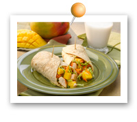 Click to view larger image of Asian Mango & Chicken Wraps : Fill Half Your Plate with Fruits & Veggies : Fruits And Veggies More Matters.org