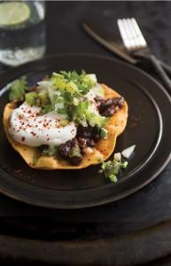 black bean tostadas kiwifruit salsa