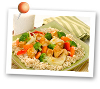 Click to view larger image of Brown Rice w/Sizzling Chicken & Vegetables : Fill Half Your Plate with Fruits & Veggies : Fruits And Veggies More Matters.org