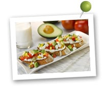 Click to view larger image of Avocado Breakfast Bruschetta : Fill Half Your Plate with Fruits & Veggies : Fruits And Veggies More Matters.org