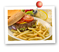 Click to view larger image of Burger & Shoestring Fries : Fill Half Your Plate with Fruits & Veggies : Fruits And Veggies More Matters.org