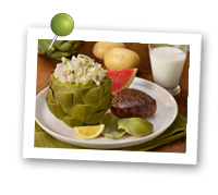Click to view larger image of Crab Smashed Potato Stuffed Artichokes : Fill Half Your Plate with Fruits & Veggies : Fruits And Veggies More Matters.org