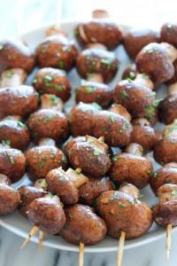 garlic mushroom kabobs