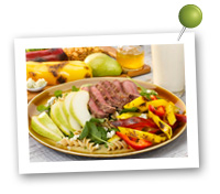 Click to view larger image of Grilled Steak and Peppers Salad with Pears: Fill Half Your Plate with Fruits & Veggies : Fruits And Veggies More Matters.org