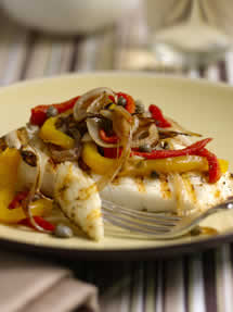 CIA Recipes: Grilled Halibut with Roasted Red and Yellow Pepper Salad