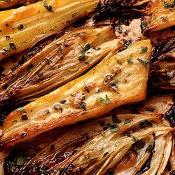 honey roasted endive and parsnips