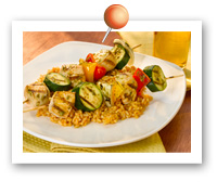 Click to view larger image of Pesto Chicken Vegetable Kebabs : Fill Half Your Plate with Fruits & Veggies : Fruits And Veggies More Matters.org