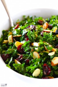 kale salad with cranberries and almonds