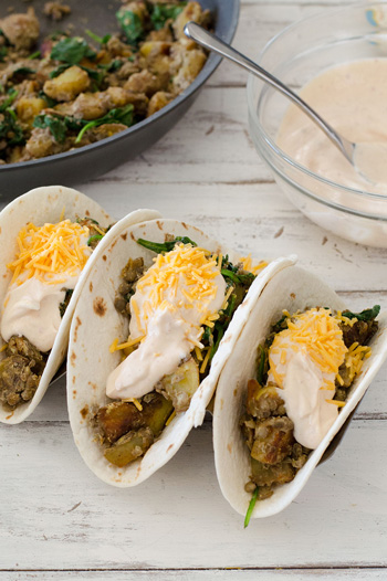 Lentil, Potato & Spinach Tacos