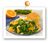 Click to view larger image of Mixed Greens w/Fresh Oranges & White Beans : Fill Half Your Plate with Fruits & Veggies : Fruits And Veggies More Matters.org