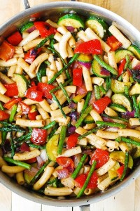 pasta with roated veggies
