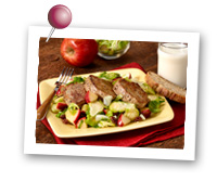 Click to view larger image of Shredded Brussels Sprouts and Chunk Apple Sauté with Pork Tenderloin  : Fill Half Your Plate with Fruits & Veggies : Fruits And Veggies More Matters.org