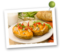 Click to view larger image of Potato Skins w/Buffalo Chicken : Fill Half Your Plate with Fruits & Veggies : Fruits And Veggies More Matters.org